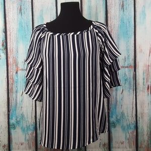 NWT Charter Club Striped Tiered Sleeve Top